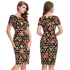 Formal Midi 100%Cotton Flower Pattern Retro Vintage Bodycon Pencil Dress Party