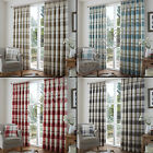 "CHECK STRIPED 3"" TAPE TOP LINED PAIR READY MADE CURTAINS RED GREY BLUE CREAM"