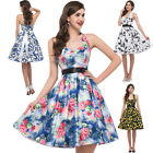 Swing Retro Vintage Cotton Halter Party Evening Cocktail 1950's Dress Floral New