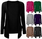 Ladies Boyfriend Open Cardigan Womens Long Sleeve Pocket Cardi Plus Sizes 8-22