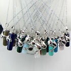 Natural Gemstone Charm Silver Frog Reiki Chakra Healing Pendant Chain Necklace