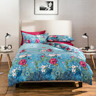 Catherine Lansfield Floral Garden Blue Cotton Rich Duvet Quilt Cover Bedding Set
