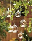 Clear Hanging Glass Bauble Ball Tealight Candle Holder Wedding Garden Decor ML