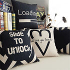 "Simple Black Love Geometry Pillow Case Cushion Cover Decor Square 18"" PX1240"