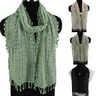 Fashion Women Crochet Hollow Cotton Mesh Tassel Ladies Long Scarf Wrap Shawl New