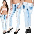 New Womens Distressed Ripped Floral Lace Panel Faded Stretchy Jeans 6 8 10 12 14