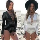 Womens Sexy Long Sleeve Striped Plunge Lace Up Bodycon Bodysuit Leotard Tie Top