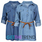 Womens Belted Denim Shirt Dress Ladies Roll Up Sleeve Cotton Button Up Shirt Top