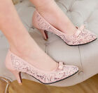 Casual Womens Mid Heel Boat Slip On Lace Sweet Bowtie Princess Shoes Pointy Toe