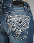 PO VIGOSS THE NEW YORK BOOT CUT Silver Studs Jeans embellished flap 3/4x33