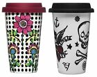 Sagaform Porcelain Mug Double Wall Insulated Takeaway Travel Cup + Silicone Lid