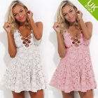 UK Sexy Women Lace Deep V Neck Sleeveless Party Cocktail Mini Dress Size 6-12