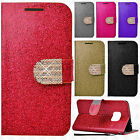 Samsung Galaxy S7 EDGE Diamante Glitter Leather Wallet Pouch Flip Phone Cover