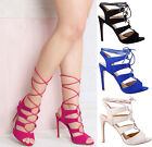 Womens ladies high stiletto lace up cut out heel party summer strap sandals size