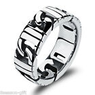Men's Vintage Steampunk Silver Tone 316L Stainless Steel Wide Band Ring US7-11