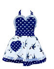 LITTLE MISS SUNDAYGIRL BLUE POLKA DOT/BIRD CHILDREN'S APRON 2-7 8-11Yrs