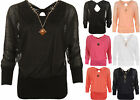 Womens Plus Chiffon Lined Sheer Long Sleeve Ladies Bow Party Necklace Top 8-16
