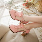Casual Womens College Oxford Tassel Block heels Close Toe Ankle strap Plus Size