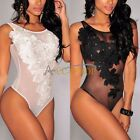 New Sexy Women's Sheer Mesh Floral Bodysuit Leotard Romper Undershirt Sleepwear