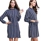 New Vertical Striped Cotton Long Sleeves Skirt Casual Loose Tops Dress UR