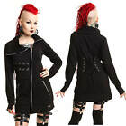 VIXXSIN LONG BLACK FITTED ZIP UP GOTHIC CORSET LACE TALL FUNNEL JACKET TOP 8-16