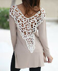 LL Casual Womens Sexy Backless Lace Hollow Out T-shirt Long Sleeves Base Shirt