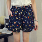 2016 Women Summer Casual Loose High waisted leaf Printing hot  Shorts Plus 10-20
