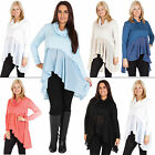 New Womens Gorgeous Italian Cowl Neck Layered Long Top One Size 12 16 18