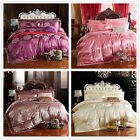 Luxury King/Queen Size Bed Quilt/Duvet Cover Set Linen New Satin Pillowcase Lace