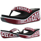 Volatile Red River Women's Oklahoma Sooners Football Wedge Thong Sandals