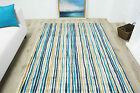 New Modern Mottled Teal Blue Striped Rug Small Large Non Shed Modern Lounge Rugs