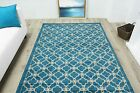 New Contemporary Trellis Turquoise Blue Rugs Small Large Modern Geometric Rugs