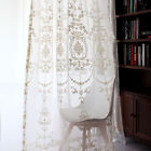 2*Custom Floral Damask Embroidered White Sheer Curtain French Country Victorian