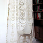 2 Floral Damask Embroidered White Sheers Curtain French Country Victorian Linen