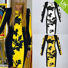 Women's Long Sleeve Celeb Slim Fitted Floral Printed Tunic Black Party Dresses
