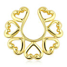 14KT Gold Plated Vintage Hearts Nipple Shield Fake Non Piercing Bar