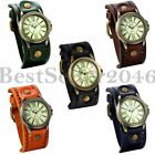Retro Mens Womens Cool Punk Wrist Watch Wide Leather Band Bracelet Cuff+Gift Bag