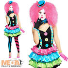 Circus Clown + Hat Girls Fancy Dress Halloween Carnival Teens Childrens Costume