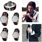 Men women unisex luxury sports Leather Strap Silver case watches gift new