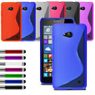 For Various Nokia Microsoft Lumia Soft Silicone Gel Case Cover + Film + Stylus