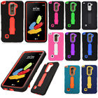 For LG Stylo 2 LS775 IMPACT Hard Protector Rubber Case Phone Cover Kickstand