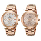 Cabochon Women's Papillon Multi-Function Rose-Tone SS Watch