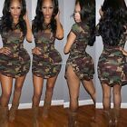 Women's Camouflage Army Camo Bodycon Short Mini Dress Sexy Slim Bandage Clubwear