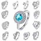 Women Fashion jewelry 925 Soild Silver Filled Bridal Engagement Wedding Ring