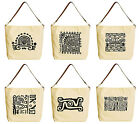 Mexican Culture Icons Beige Printed Canvas Tote Bag with Leather Strap WAS 29