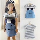 New Kids Girls Striped Mouse Short Sleeve T-shirt Dress Baby Summer Clothes 2-7Y