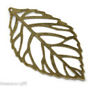Gift Wholesale Bronze Tone Filigree Leaf Charm Pendants 54x32mm