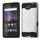 For ZTE Tempo N9131 Brushed Metal HYBRID Rubber Case Phone Cover Accessory