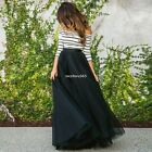 Women 2Pcs Long Sleeve Tops Blouse Tutu Mesh Long Skirt Off Shoulder Party Dress