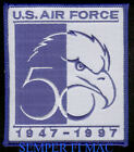 AUTHENTIC US AIR FORCE 50TH ANNIVERSARY PATCH USAF 1947-1997 AFB BALD EAGLE WOW!